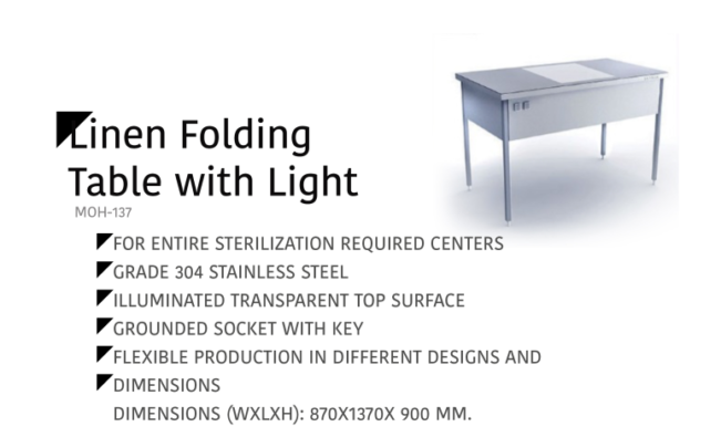 Linen Folding Table with Light MOH-137
