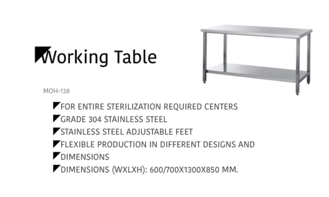 Working Table MOH-138